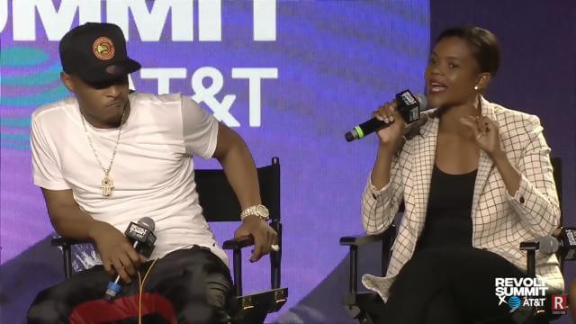 Hip Hop artist T.I. and Conservative Candace Owens speaking at the 2019 REVOLT Summit in Atlanta, GA