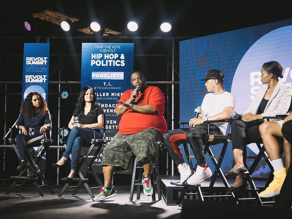 Killer Mike speaking at the 2019 REVOLT Summit in Atlanta, GA