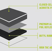 The multi-layer construction and OEM-grade adhesive of SoundShield makes it Dalton and Car-Tunes sound deadening material of choice.