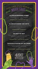 Mardi Gras promo menu
