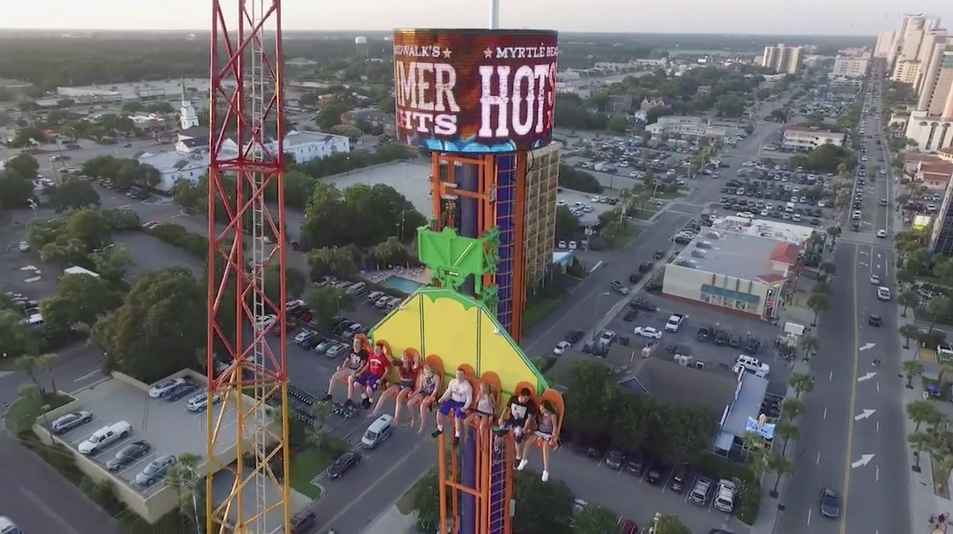 Myrtle Beach Daring Drop at top by sign