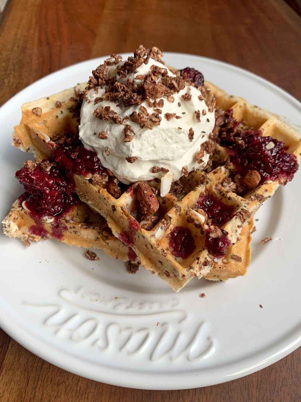 Elevated Oats Salted Cocoa Crunch Granola Belgium Waffle Recipe in Anchorage Alaska