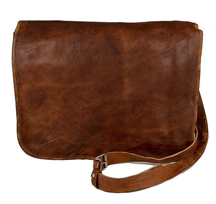 "15"" Wide Leather Messenger Bag 15WM"
