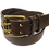 """Thumbnail: Two Pin Brass Buckle on Brown Leather 1.5"""" or 38mm wide"""