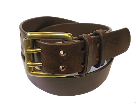 """Two Pin Brass Buckle on Brown Leather 1.5"""" or 38mm wide"""