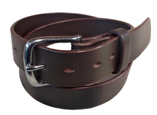 "Stainless steel buckle on brown leather 1.5"" or 38mm wide"