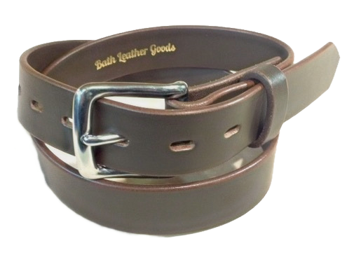 Stainless steel buckle on brown saddle leather belt