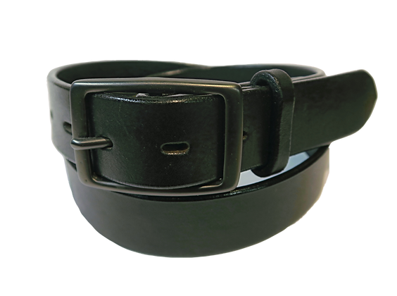 """Black Brass buckle on black leather 1.25"""" or 32mm wide"""