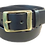 "Thumbnail: Brass raised keeper buckle on black leather 1.5"" or 38mm wide"