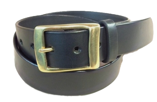 "Brass raised keeper buckle on black leather 1.5"" or 38mm wide"