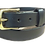 "Thumbnail: Brass buckle on black leather 1.25"" or 32mm wide"