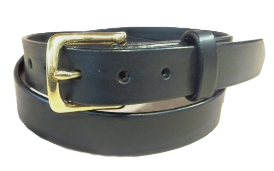 "Brass buckle on black leather 1.25"" or 32mm wide"