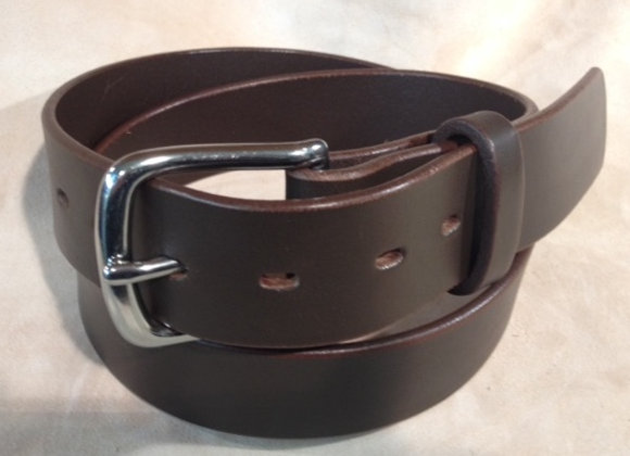 "1 1/2"" brown saddle leather & s/steel buckle"