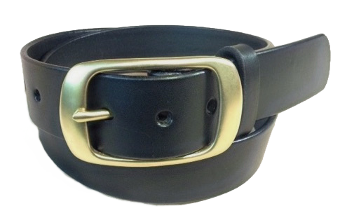 """Brushed Brass buckle on black leather 1.5"""" or 38mm wide"""