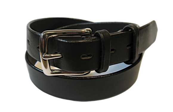 "Stainless Steel Buckle on black leather 1.25"" or 32mm wide"