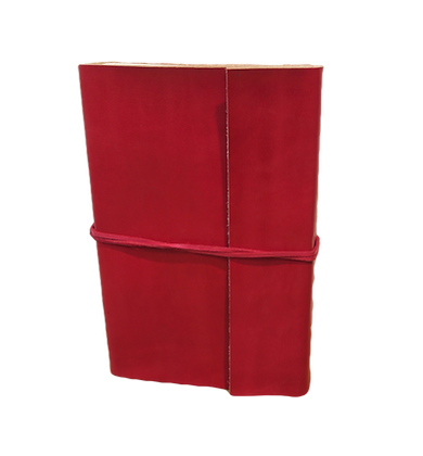Slim Journal in red leather with approx. 40 pages