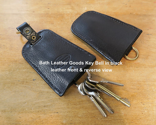 Bath Leather Goods Key Bell in black, front & reverse view