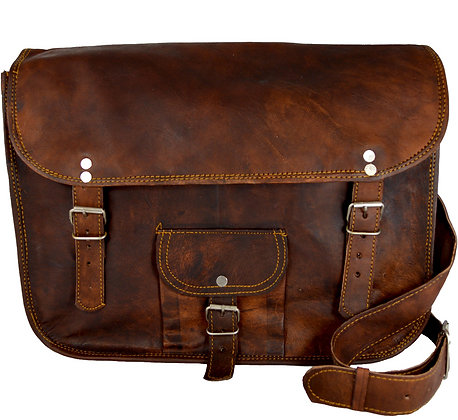 "15"" Wide Classic Leather Satchel 15WSWP"