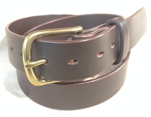 "1 1/2"" brown saddle leather & brass buckle"