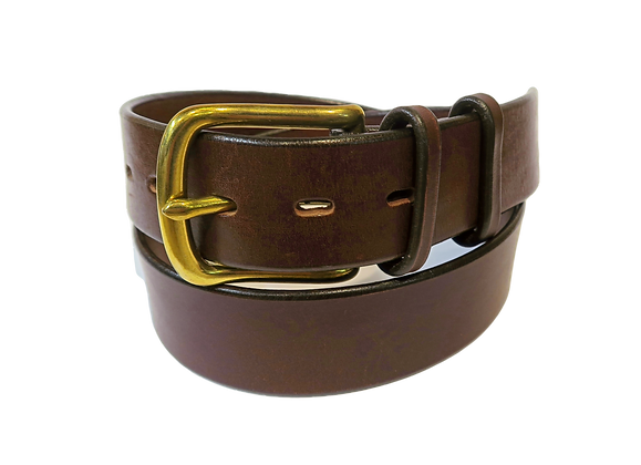 """Brass buckle on brown leather 1.5"""" or 38mm wide"""