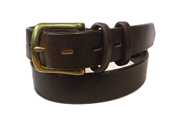 "Brass buckle on brown leather 1.25"" or 32 mm wide"