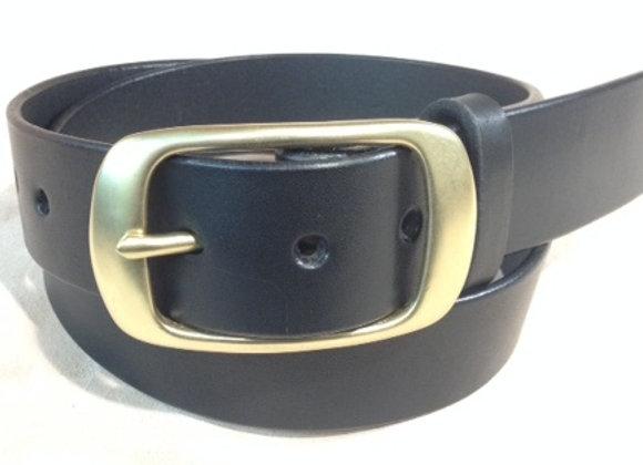 "1 1/2"" black saddle leather & brushed brass buckle"