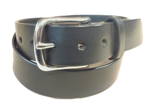 "Stainless steel buckle on black leather 1.5"" or 38mm wide"