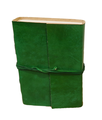 Small Journal in green leather with approx. 132 pages