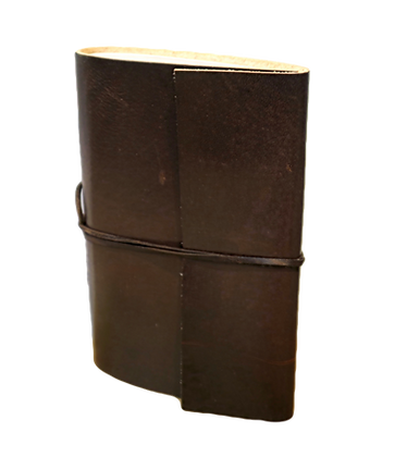 Pocket Size Journal in brown leather with approx. 40 pages