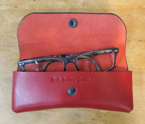 Bath Leather Goods red glasses case, open view