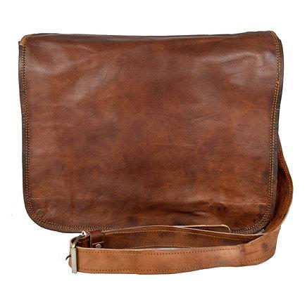 "13"" Wide Leather Messenger Bag 13WM"