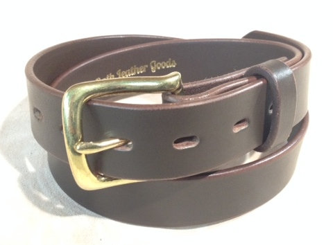 """1 1/4"""" brown saddle leather & brass buckle"""