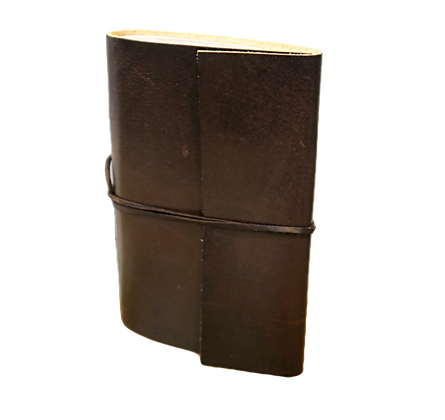 Slim Journal in brown leather with approx. 40 pages