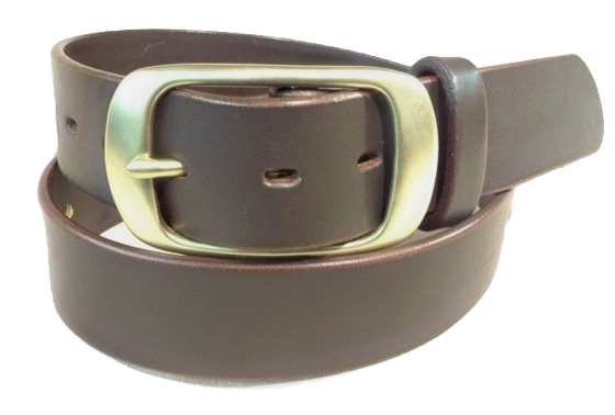 "Brushed Brass buckle on brown leather 1.5"" or 38mm wide"
