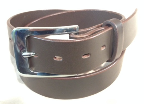 """1 1/2"""" brown saddle leather & flat s/steel buckle"""