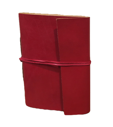 Pocket Size Journal in red leather with approx. 40 pages
