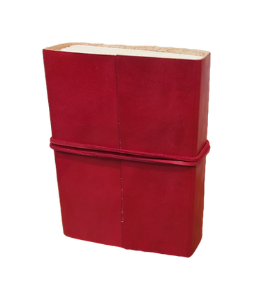 Small Journal in red leather with approx. 132 pages
