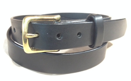 "1 1/4"" wide black saddle leather & brass buckle"