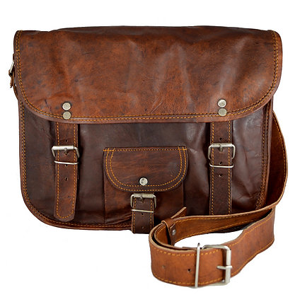 """13"""" Wide Classic Leather Satchel 13WSWP"""