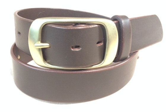 """1 1/2"""" brown saddle leather & brushed brass buckle"""