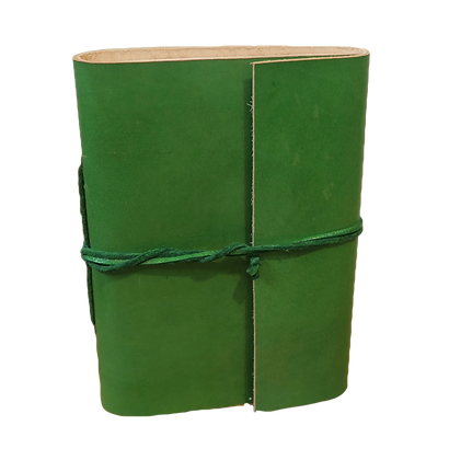 Pocket Size Journal in green leather with approx. 40 pages