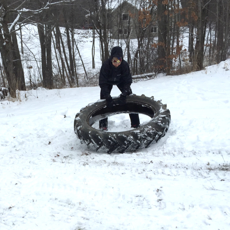 Tractor Tire in Snow