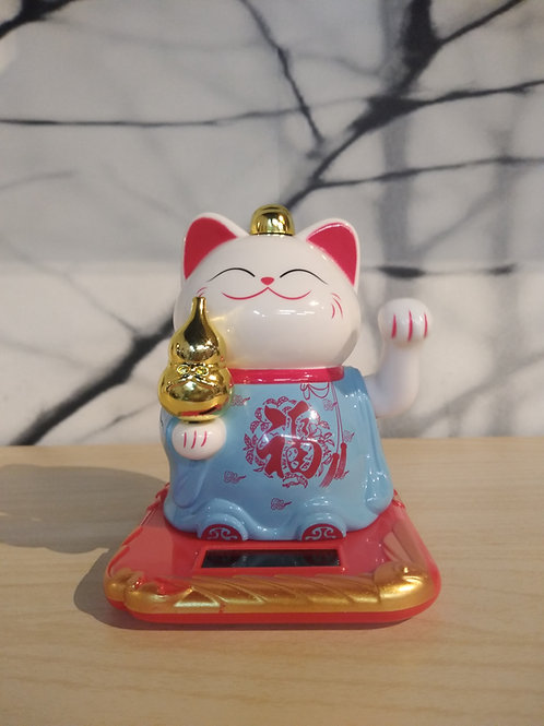 Gezwaaide gelukkig katje - Blauw