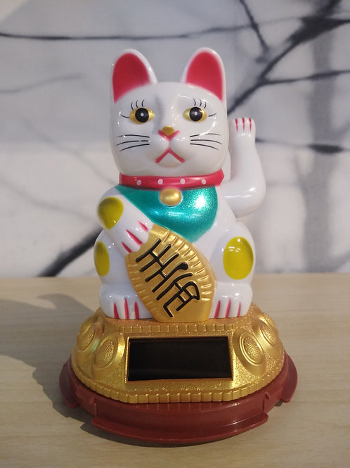Gezwaaide gelukkig katje - Wit
