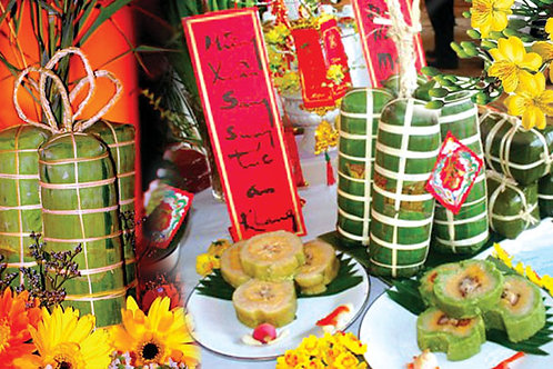 Vietnamese Traditional Rice Cake for New Year -  4 portions (16 pcs)