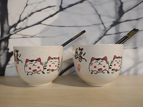 Noodle Bowl Set - Lucky Cats