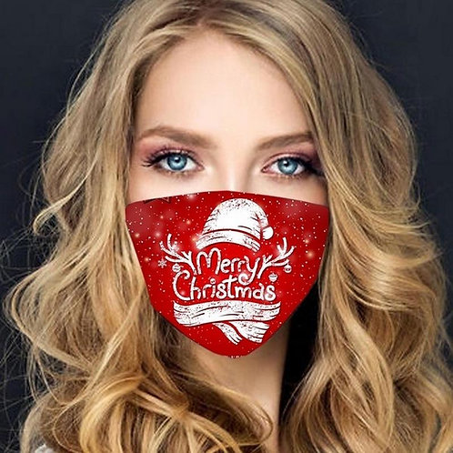 Face mask with filter - Christmas and New Year - Red