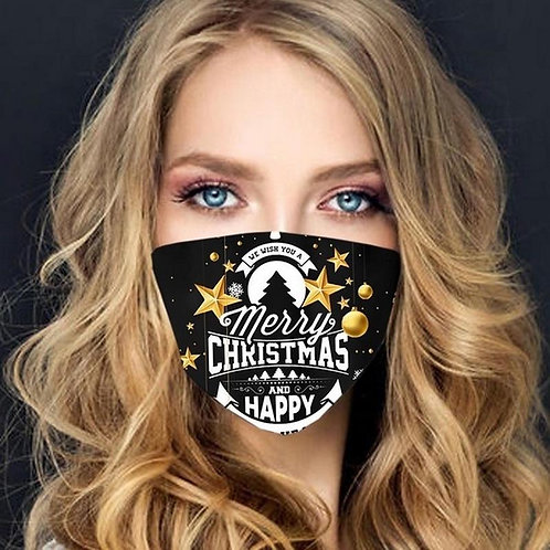 Face mask with filter - Christmas and New Year - Black
