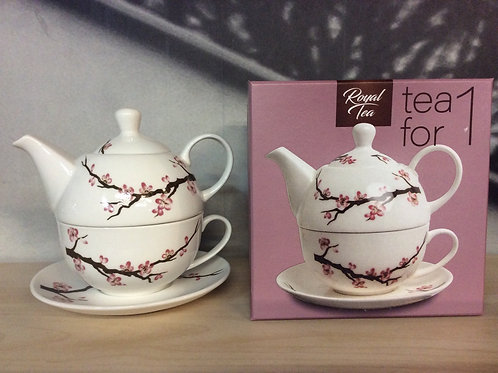 Royal Cherry Flowers Tea Set Porcelain
