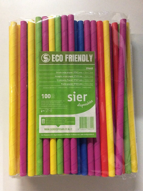Straight Straw Paper 10mm diameter - 24 cm length 100 pieces